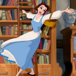 Belle from Disney's Beauty and the Beast dancing in the book shop
